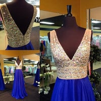 A-line V-neck Beaded Bodice Royal Blue Chiffon Prom Dress Long Formal Gown APD1633