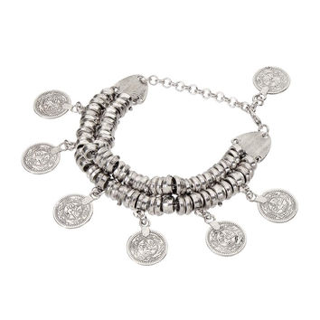 Sliver Row Bracelet with Coin