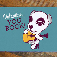 Nerdy Valentine Card, K.K. Slider Animal Crossing Dog with Guitar, Geeky Valentine, Video Games Card, Funny Dog Pun Card, for him for her