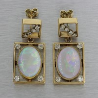Antique Art Deco Estate 14k Yellow Gold Fire Opal .90ct Diamond Dangle Earrings
