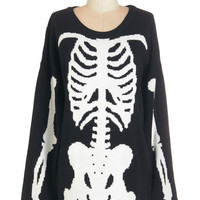 ModCloth Quirky Long Long Sleeve Show and Skeleton Sweater