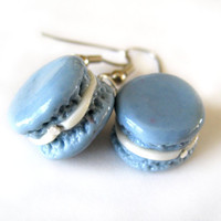 French Macaron Earrings, Baby Blue Buttercream, Hypoallergenic Surgical Steel Hooks. Jewelry for Girls, Tweens, Teens, Young Women.