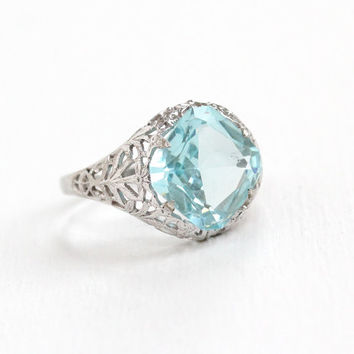 Vintage Sterling Silver Art Deco Simulated Aquamarine Filigree Ring - Antique Size 7 1/2 Light Blue Glass Stone 1920s Flower Jewelry