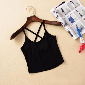 New Design Women Bare-Midriff Crop Top O-Neck Sleeveless Short Modal Tank Top Crop Back Cross Vest Summer Sexy Top Fitness Women