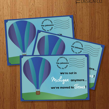 Printable We've Moved Announcement - DIY Moving - Hot Air Balloon