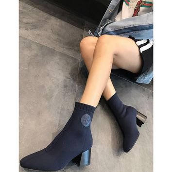 Hermes Volver 60 Ankle Boot In Knit Blue - Best Deal Online
