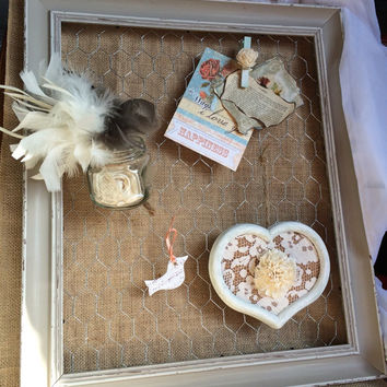 """In Stock Decorative Memory Board Frame 11"""" X 9"""" With Chicken Wire Burlap Background Includes Embellishments Keepsake Family Wedding Rustic"""