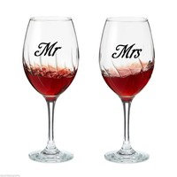 20pcs/set of Mr & Mrs Wine glass jar wedding Stickers Vinyl Removable Kitchen Wall tile Stickers Birthday Decoration Mural D761