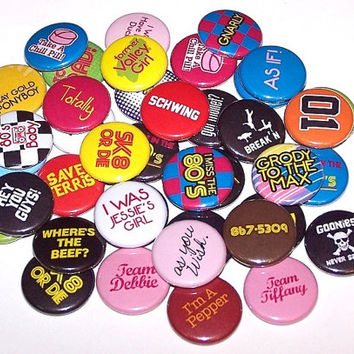 "10 Everything 80's Mix 1 Inch Pin Back Buttons 1"" Pins or Magnets"