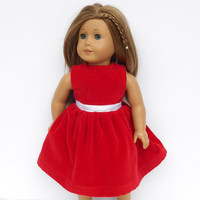 Red Velveteen Doll Dress, Christmas Dress fits 18 inch Dolls such as American Girl Dolls
