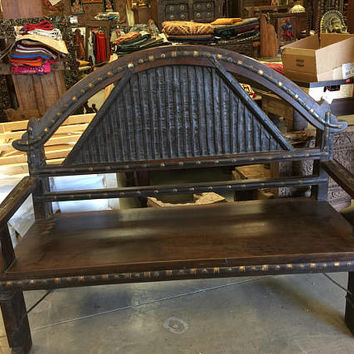 Antique Indian Bench Teak Sofa Hand Carved Iron Patina Vintage Eclectic Dark wood Hand crafted
