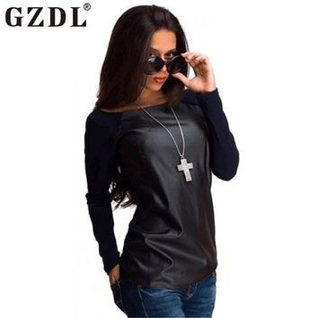 GZDL Fashion Autumn Women PU Leather Tops T-Shirts Black Long Sleeve Patchwork Casual Loose Winter Boat Neck Shirt Blusas CL2393