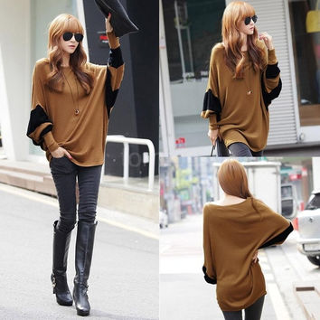 Korean Fashion Women Slouchy T-shirt Contrast Batwing Sleeve Long Loose Blouse Pullover Tops G0850|24701 One Size (Color: Brown) = 1946473860