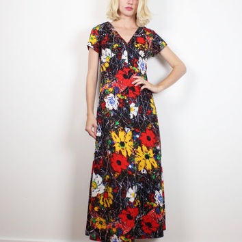 Vintage 1970s Dress Open Back Maxi Dress Mod 70s Hippie Dress Cap Flutter Sleeve Backless Psychedelic Daisy Floral Print Dress S Small M