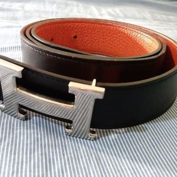 Hermes H belt buckle & Reversible leather strap 32 mm size 90 France calfskin