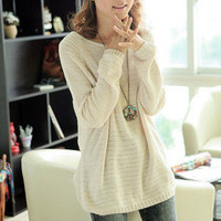 Beige Loose Bat Hollow Long Sleeve Sweater