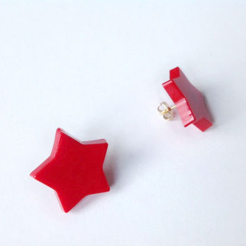 RED STAR resin EARRINGS * pop * 80's * glam rock * studs earrings
