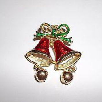 Vintage Christmas Bells Enameled Brooch / Lapel Pin