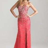Night Moves 6745 Strapless Watermelon Gown