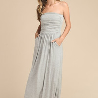 Simple and Stylish Maxi Dress  - Gray