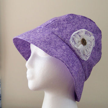 Chemo Hat Cloche Style Cotton Print in Lavender and Plum for Women, cotton lined, lace flower accent donation made to Cancer Society