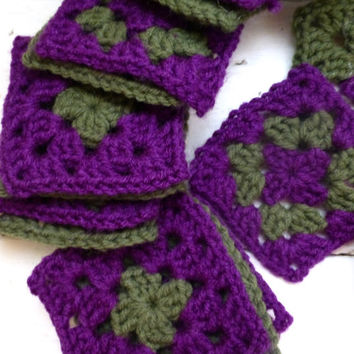 Crochet Granny Square - Purple and Green squares, crochet afghan squares, ready to ship