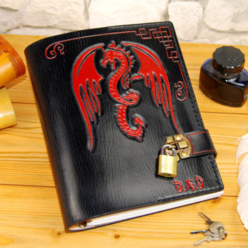 Dragon Leather Notebook Personalized Custom Journal Travel Journal Refillable Sketchbook Gift TiVergy Book