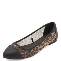 Faux Leather & Mesh Pointy Toe Flat - Classic Leopard