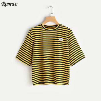 ROMWE Bee Stripe Emoji Patch T-shirt Yellow T shirts Women 2017 Summer Tops Women Short Sleeve Round Neck T-shirt