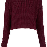 Knitted Textured Crop Jumper - Jumpers - Knitwear  - Clothing