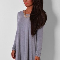 Helena Grey Long Sleeved Swing Dress | Pink Boutique