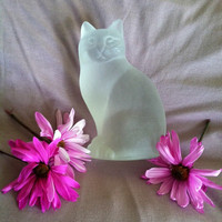 Cat Figurine Vintage Frosted Glass Cat Statue Feline Home Decor Collectible Glass Cat Paper Weight Crystal Kitty Cat Totem Cat Lover's Gift