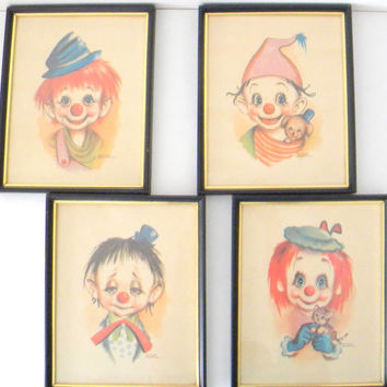 4 Vintage Child Clown Prints by Dianne Dengel
