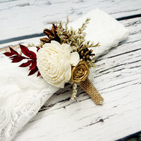 Cream brown gold burgundy rustic wedding BOUTONNIERE CORSAGE groom groomsman, Sola Flower, pine cone dried limonium custom