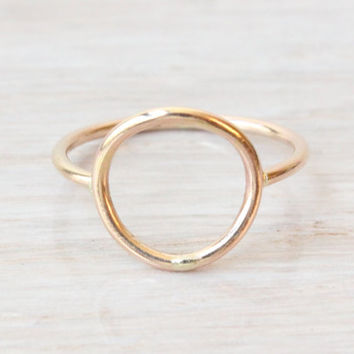 Gold filled circle ring, Eternity ring, karma ring, large open circle ring, gold ring, handmade ring, friendship ring, trendy jewelry