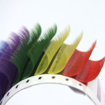 12Rows Mixed Rainbow Color Eyelash Extension High Quality 0.1mm Colorful Eyelashes Makeup Tools