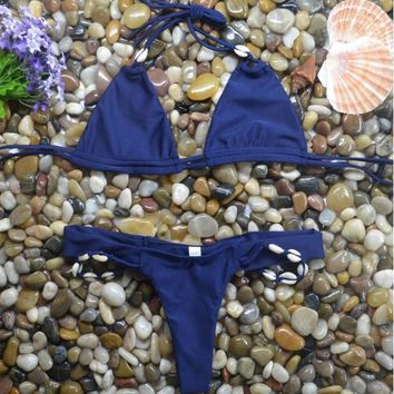Hot sale blue hanging neck with bottom Shell side two piece bikini