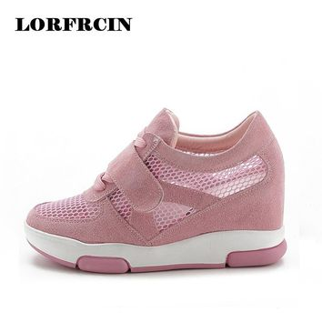 Breather Summer Women Shoes 2017 Wedge Boots Platforms Shoes Woman Hidden Heels Mesh Casual Ladies Shoes zapatos mujer