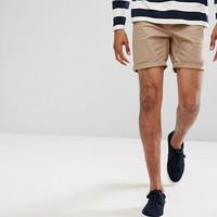 ASOS Slim Chino Shorts In Stone at asos.com