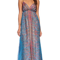 Gypsy 05 Printed Spaghetti Strap Maxi Dress in Blue