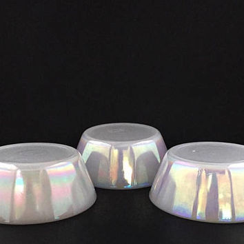 Vintage Federal Glass Moonglow Iridescent Dessert Bowls Set Of 3