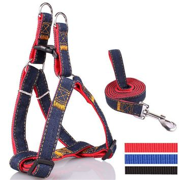 Colorful Denim Jean Dog Harness & Cat Harness