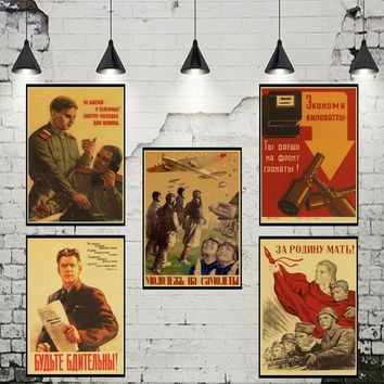 Fight with Enemy WWII WW2 Soldier CCCP USSR Soviet Communism Poster Vintage Retro Wall paper Stickers Home Posters Bar Decor