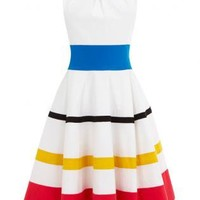 Hit Color Stripes Dress S010465
