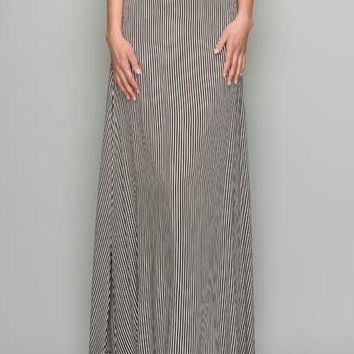 BAILEY BLACK AND WHITE STRIPPED SIDE SLIT MAXI SKIRT