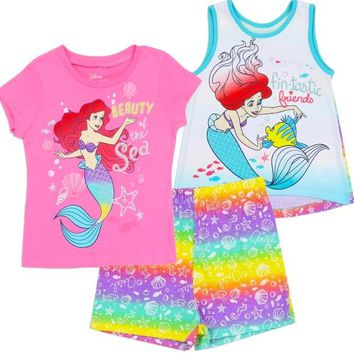 Little Mermaid Ariel Girls 3-Piece Set. Toddler Sizing. Shirt, Tank & Shorts