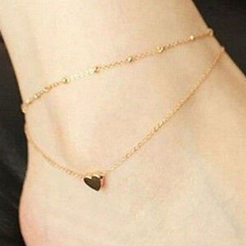 Sexy Gold Tone Love Heart Ankle Bracelet Double Layer Chain Foot Anklet SM6