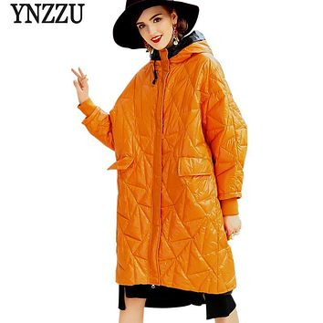 YNZZU High Quality 2017 New Winter Womens Down Jackets Shiny Casual Hooded Warm Duck Down Coat Oversized Snow Jacket YO394