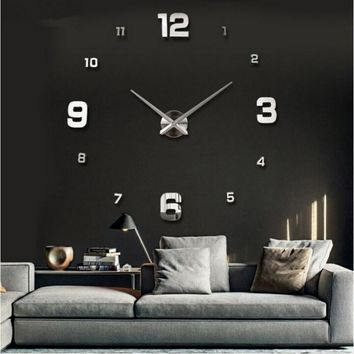 Modern DIY Large Number Wall Clock 3D Mirror Surface Sticker Home Office Decor