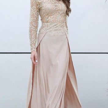 Fit And Flare  High-necked Long Sleeve Sequin Double Slit Maxi Dress
